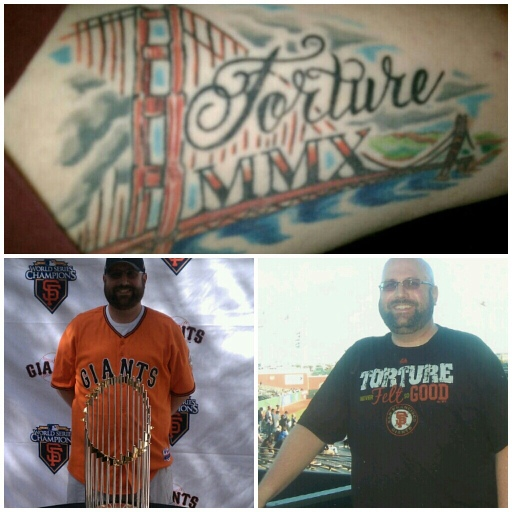 Top: my 2010 tribute tattoo Bottom Left: with the 2010 World Series trophy during Spring Training 2011. Bottom Right: At AT&T Park, August 2011.