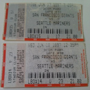 The ticket stubs from the only games I saw at Candlestick, June 1997.